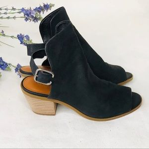 Lucky brand peep toe black mule shoes size:7M